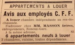 """Annonce parue en 1906 dans le """"Journal et Feuille d'Avis de Renens"""""""